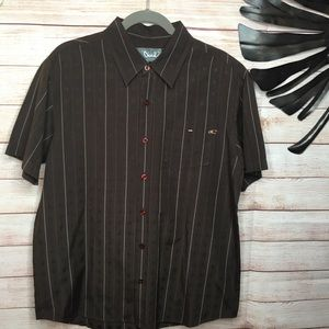 O'Neill brown striped short sleeves shirt size M